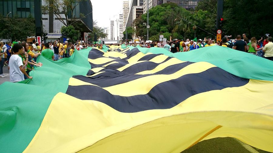 Large Group Of People Outdoors People Impeachment Flags Paulista Avenue Moto X G2 Smartphonephotography EyeEm SmartPhone Protests In Brazil The Week On EyeEm Paint The Town Yellow