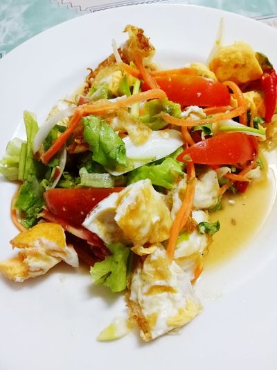 Food And Drink Food Healthy Eating Close-up Cooked Egg Saled Thai Food Tomato Savory Food Spicy Food Vegetable Chili  Food And Drink