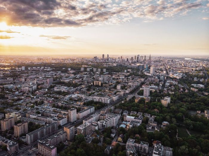 Warsaw Warsaw Poland City Big City Architecture Building Exterior City Sky Built Structure Cityscape Building Cloud - Sky Sunset High Angle View Outdoors City Life No People