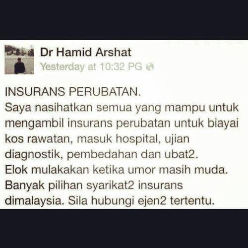 Bg yg xde lg tu sediakan payung sebelum hujan..insurance adalah utk org yg xde duit!!!! Klu ade duit juta2 x yah amik insurance pun xpe..tp org yg ade duit juta2 pun amik insurance..dan insurancr hanya utk yg masih sihat dan x berpenyakit, klu dah x sihat@berpenyakit nk byr rm1000 sebulan pun mane2 insurance xnk amik.. Maatakaful Insurance Syariah Hibah