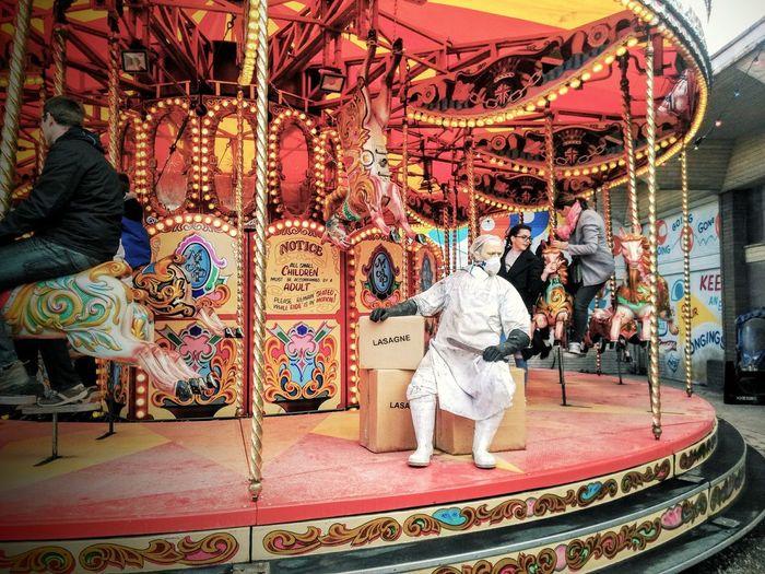 Arts Culture And Entertainment Multi Colored Leisure Activity Carousel Amusement Park Ride Amusement Park Dismaland® Dismaland Reino Unido Inglaterra United Kingdom England🇬🇧 Banksy Banksy ? 😜 Banksy Banksyart Lasagne Lasagna