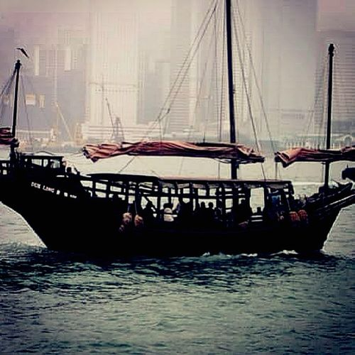 Cityscapes the Duck Ling sailing in Victoria Harbour Boat HongKong Modernvstraditional