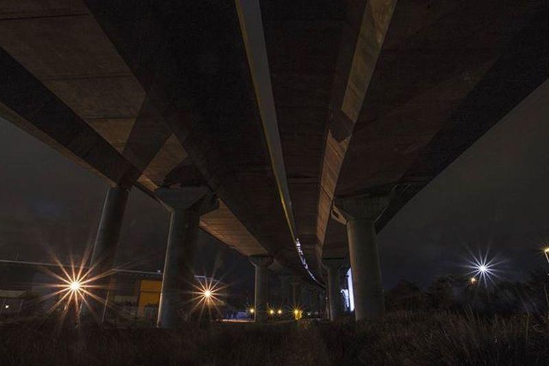 Under the bridge 🌉 Photography Landscape Nightphotography Bridge Light Melbourne Boltebridge Dark Yarra Structure Architecture Column Concrete Concretejungle Explore Travel Transport Canon