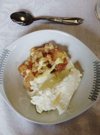 Homemade apple pie with whipped cream for dessert in a Norwegian confirmation. Norway Confirmation Dessert Apple Pie Whipped Cream Yummy