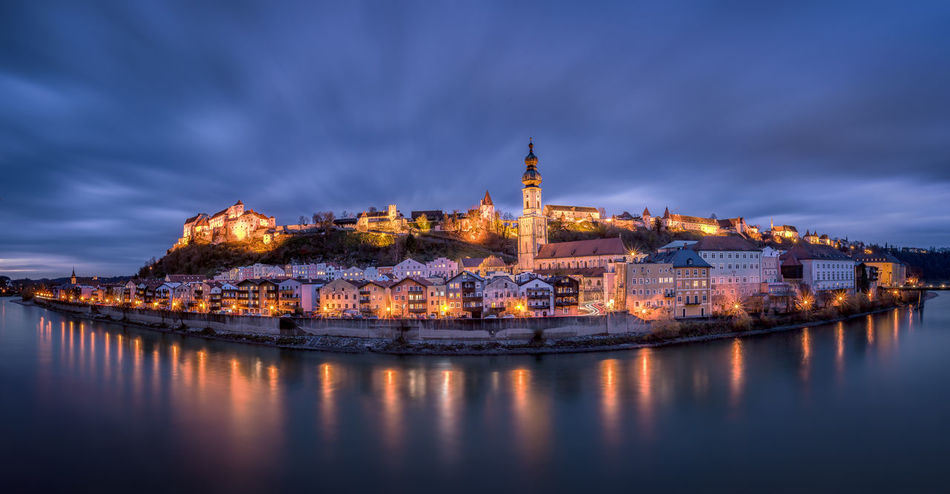 Blue Hour Castle Cityscape Old Town Panorama Clouds Long Exposure River