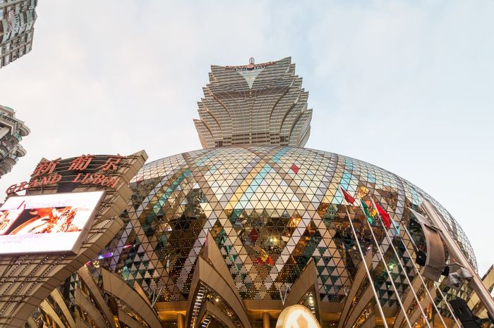 Grand Lisboa Hotel comprised of an ultramodern tower rising from a striking geodesic dome, this iconic casino hotel ASIA Casino China Dome Freshness Geodesic Dome Golden Grand Grand Lisboa Grand Lisboa Macau Hong Kong Iconic Hotel Lisboa Macao  Macau Macau, China Middle Red District Reflection Ultramoden