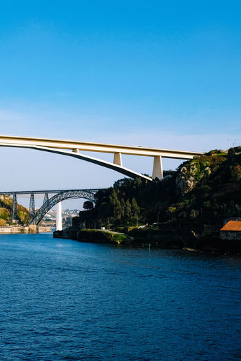 Bridge Bridge - Man Made Structure Built Structure Connection Architecture Water Sky River Clear Sky Transportation Blue Waterfront Nature No People Copy Space Day Arch Travel Outdoors Arch Bridge
