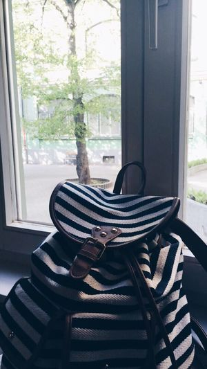 Window Day Indoors  No People Home Interior Close-up Bag School Study Lights Jard Indoor Blue Lines Backpack Retro Vintage Bohem Fashion Style