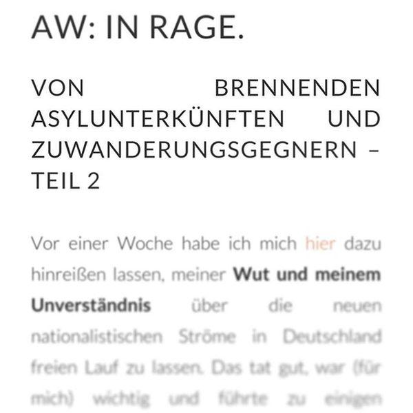 Neu im Blog : Die Antwort auf die Rage der letzten Woche. URL im Profil. Blogging Meinung Lesestoff