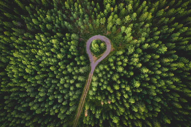 Aerial view of a road with a roundabout in a forest in finland