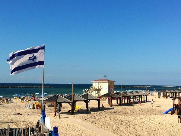 In Tel Aviv Tel Aviv Beach Tel Aviv Israel Flag Beach Israeli Flag