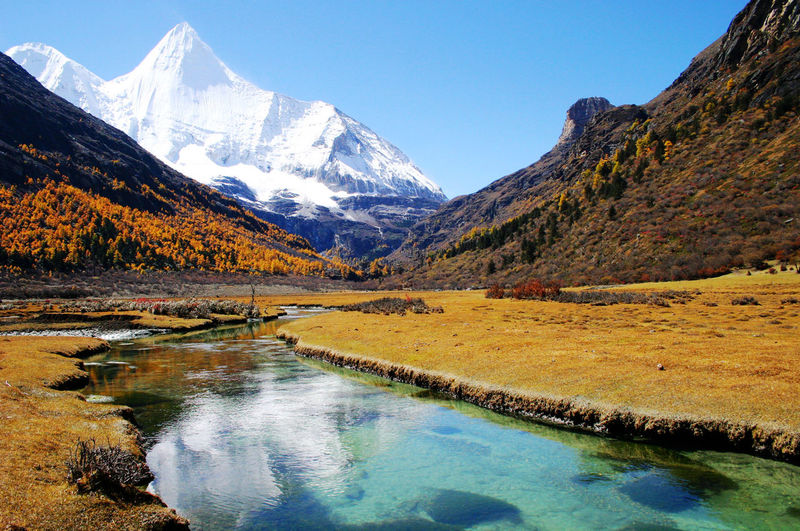 Stream Flowing Against Snowcapped Mountain