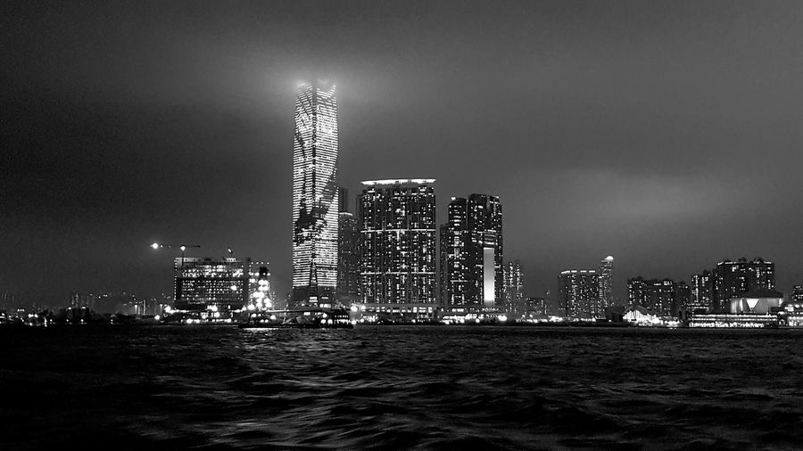 night skyline of Hong Kong Night View Night Photography Night Nightphotography EyeEm City Shots EyeEm City Lover Urbanphotography South China Sea Urban Landscape Travel Destinations Tourist Destination Tourist Attraction  Urban Scene City View  City Landscape Blackandwhite Photography City Cityscape Urban Skyline Illuminated Modern Skyscraper Sea Sky Architecture Building Exterior The Traveler - 2019 EyeEm Awards