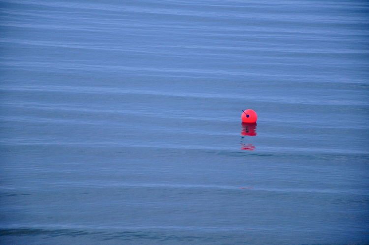 Afloat Deceptively Simple Float Floating Floating On Water High Angle View High Tide Minimalism No Edit/no Filter No People Orange And Blue Outdoors Rippled Contrasts Safety Sea Single Object Water Solitude Solitary