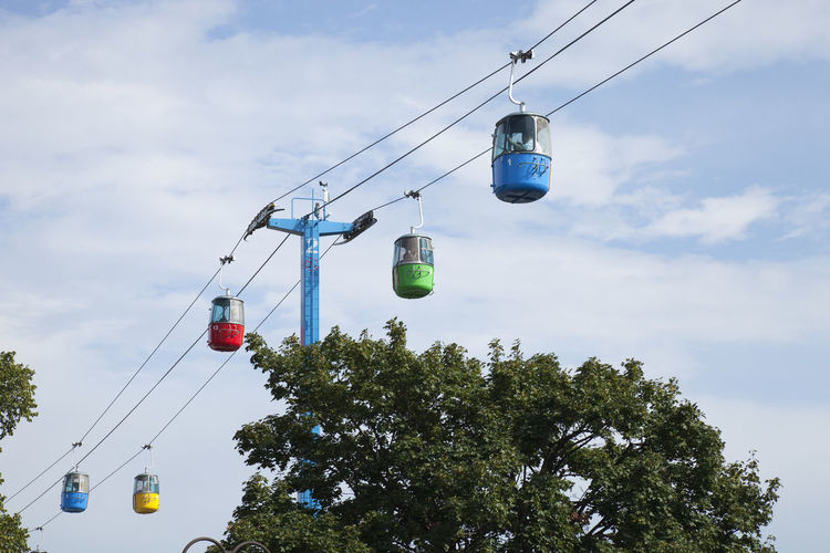 Colorful gondolas of the Sky Ride at the Minnesota State Fair in August of 2018 2018 Cable Car Event Fun Gondola Minnesota St Paul State Fair Sunlight Cable Clouds Colorful Day Editorial  Entertainment People Ride Sky Sky Ride Summer