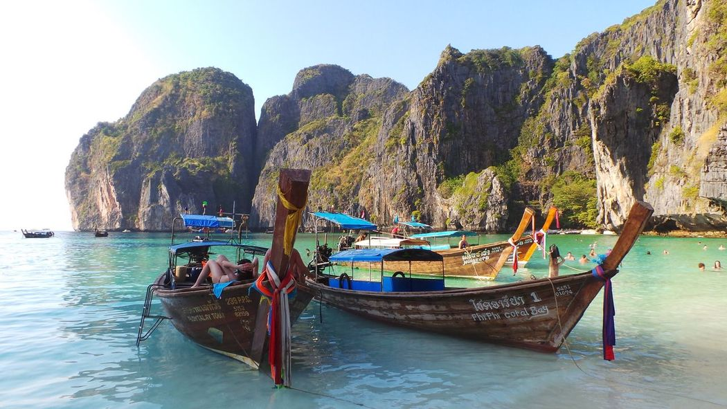 Achievement Adventure Brown Day The Great Outdoors - 2016 EyeEm Awards High Angle View Holiday Large Color Of Life Nature Outdoors Perspective Phi Phi Island Rock Sea Sea And Sky Spotted In Thailand Thai Boat Thailand Transportation Trip Vacations Voyage Water Weekend Activities