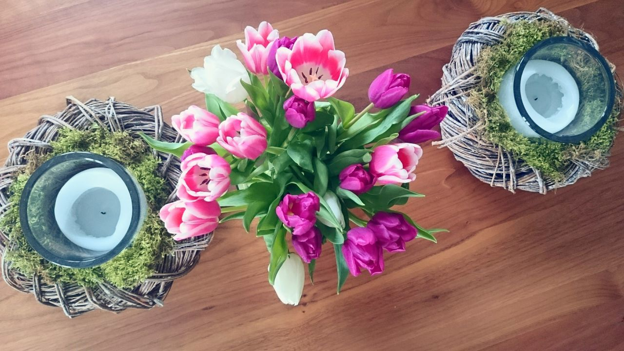 High Angel View Of Pink Tulips In Vase On Table