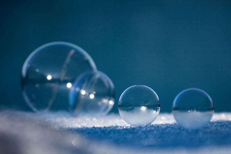 Close-up of shiny frozen bubbles