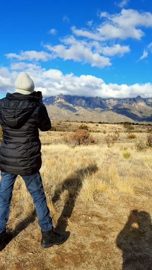 Mountain Range Adult Travel Photography Photographer Black Man One Person Sandia Mountain Day Clouds And Sky Sunny Day Scenics Nature Sun Outdoors Cloud - Sky Sunny Sky Hiking, Mountains, Adventure Landscape Mountain Dry Landscape No People Adventure Vacations
