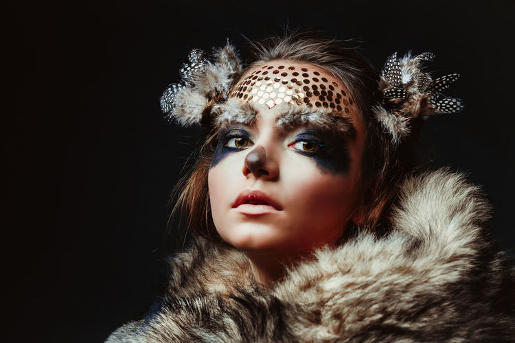 Animal Themes Beautiful People Beauty Black Background Coat Editorial  Editorial Fashion Elégance Fashion Fashion Model Fur Glamour Jewelry Make-up Portrait Sequin Stage Make-up Studio Shot Uniqueness TCPM Art Is Everywhere Break The Mold