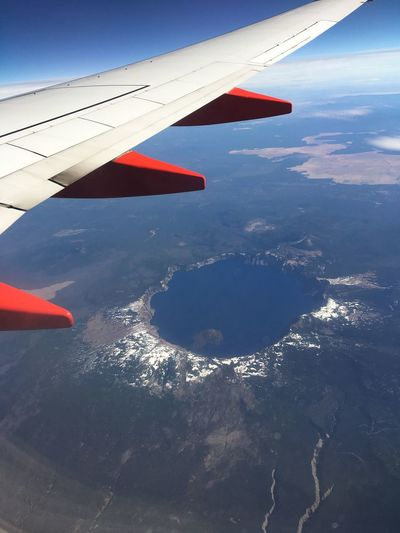Crater lake Aircraft Wing Crater Lake Mid-air Aerial View Landscape Mountain Snowcapped Mountain