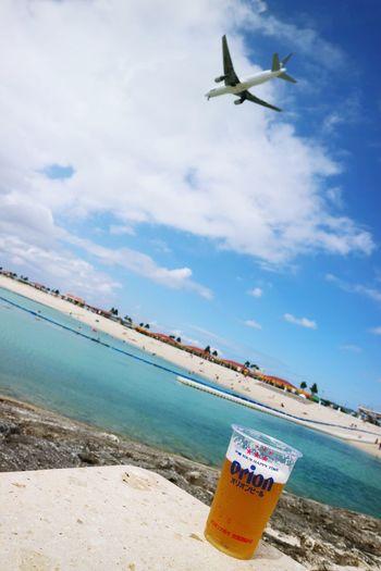 Sky Sea Airplane Beach Flying Okinawa OKINAWA, JAPAN 沖縄 琉球 Aviationgeek Aviation Okinawa Love Boeing B777