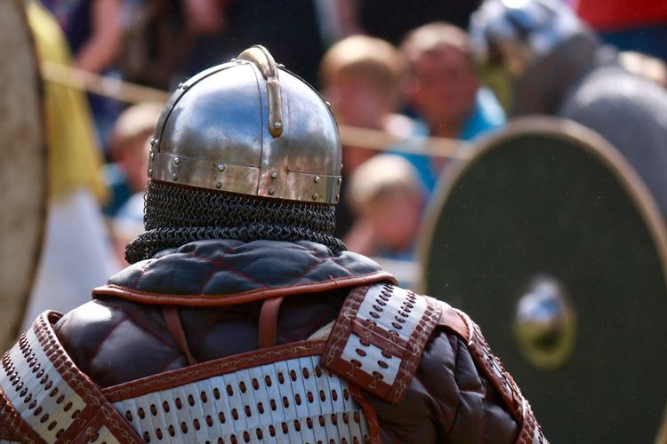 Rear view of person wearing costume during event
