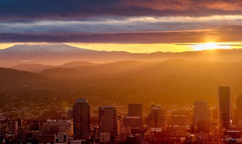 Beautiful morning at Portland Portland Morning Clouds And Sky Sunrise Mountain View Cityscapes City Building Freshness Lights USA Oregon Pacific Northwest  First Eyeem Photo