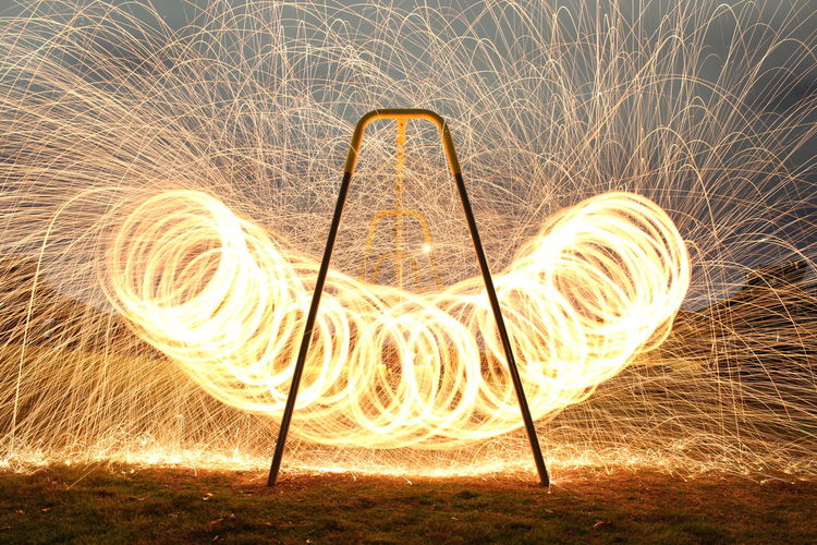 Arch Fire Long Exposure Long Exposure Night Photography Long Exposure Photography Long Exposure Shot Longexposure Night Night Photography No People Outdoors Spark Sparks Sparks Fly Sparks Flying Steel Steelwool Steelwoolphotography Swing Swinging Swings Swingset Wire Wool First Eyeem Photo