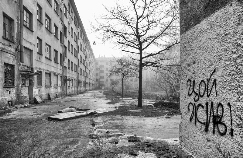 Abandoned Architecture Bare Tree Black & White Black And White Building Exterior Built Structure City Day Decay Emptiness Fog Foggy Graffiti No People Outdoors Russia Saint Petersburg Sky Spring The Writing Is On The Wall Tree Tsoi Is Alive Tsoy Welcome To Black The Architect - 2017 EyeEm Awards EyeEm Selects