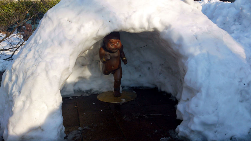 Landscape Bronze Statue Heavy Snow Hide And Seek Igloo Nature Playing In The Snow Snow Winter