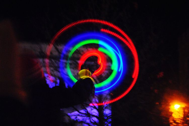 Lights Multi Colored Night Low Angle View Outdoors Illuminated Christmas Lights Slow Shutter Speed Long Exposure