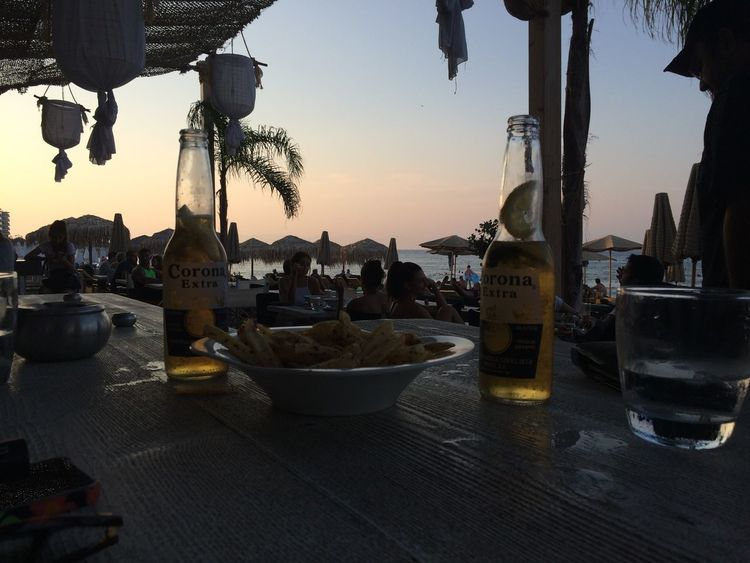 Beach Corona Beer Elli Beach Freshness Happy Hour Holiday Rhodes Sea Sunset