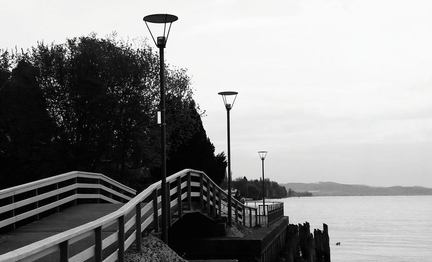 Bnw Outdoors Bridge - Man Made Structure Day Sky Water Tree Lake Lake Constance Streetlamps Streetphotography Bnw_streetphotography Copy Space No People Holiday Destination Holiday Morning Tranquil Scene
