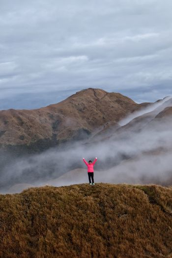 Mt. Pulag Philippines Real People Beauty In Nature Sky Clouds And Sky Fog Clouds Mountain Tranquil Scene Full Length Scenics Nature One Person Landscape Standing Outdoors Day Young Adult FUJIFILM X-T10 Fujifilm_xseries Fujifilm Fuji