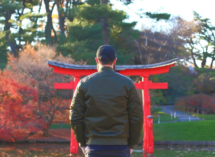 Rear View Of Man Standing Against Torii Gate In Park