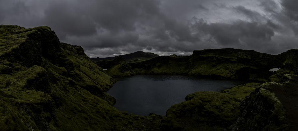 Lakagigar Natural Beauty Beauty In Nature Cloud - Sky Crater Lake Laki Day Green Moss Laki Landscape Moss Iceland Mountain Nature No People Outdoors River Scenics Sky Tranquil Scene Tranquility Tree Water Weather