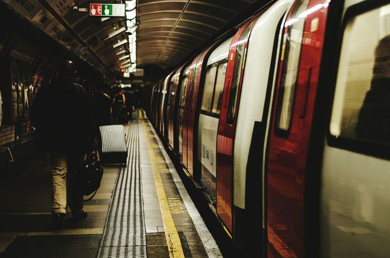 Train at subway station
