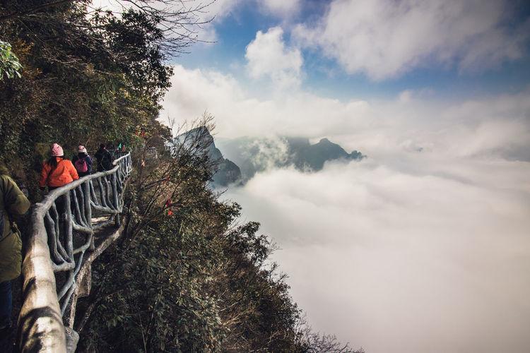 People walking on footbridge by cloudscape in forest