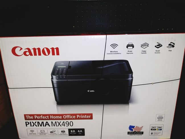 Canon Printer Multifunction Printers Fax Copy Scan Print Wireless Technology Red Text Law Close-up