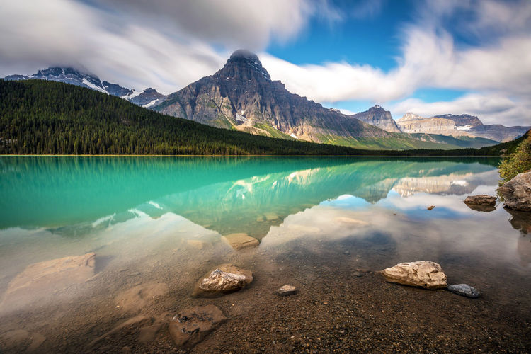 Mountain landscape and reflection along the icefield parkway in banff national park