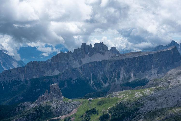 Panoramic view of mountain ridge