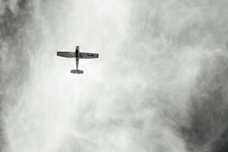 Helicopter Transportation Flying Day Outdoors Firefighter Airshow Sky Airplane Clouds Black And White Low Angle View From Below