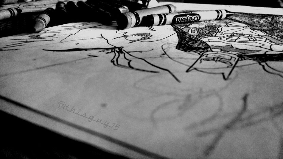 Crayon Love  Coloring Book B/W Photography Good Lighting