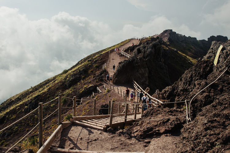 View from Vesuvio Volcano, Italy Mountain Sky Cloud - Sky Nature Architecture Built Structure Railing Scenics - Nature Day Staircase Group Of People Tranquil Scene Real People Beauty In Nature Incidental People Men Outdoors Non-urban Scene Landscape Leisure Activity Footbridge Volcano Vesuvio
