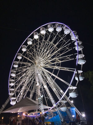 EyeEm Best Shots - Black + White WOMAD Amusement Park Amusement Park Ride Arts Culture And Entertainment Big Wheel Ferris Wheel Illuminated Low Angle View Night No People Outdoors Sky