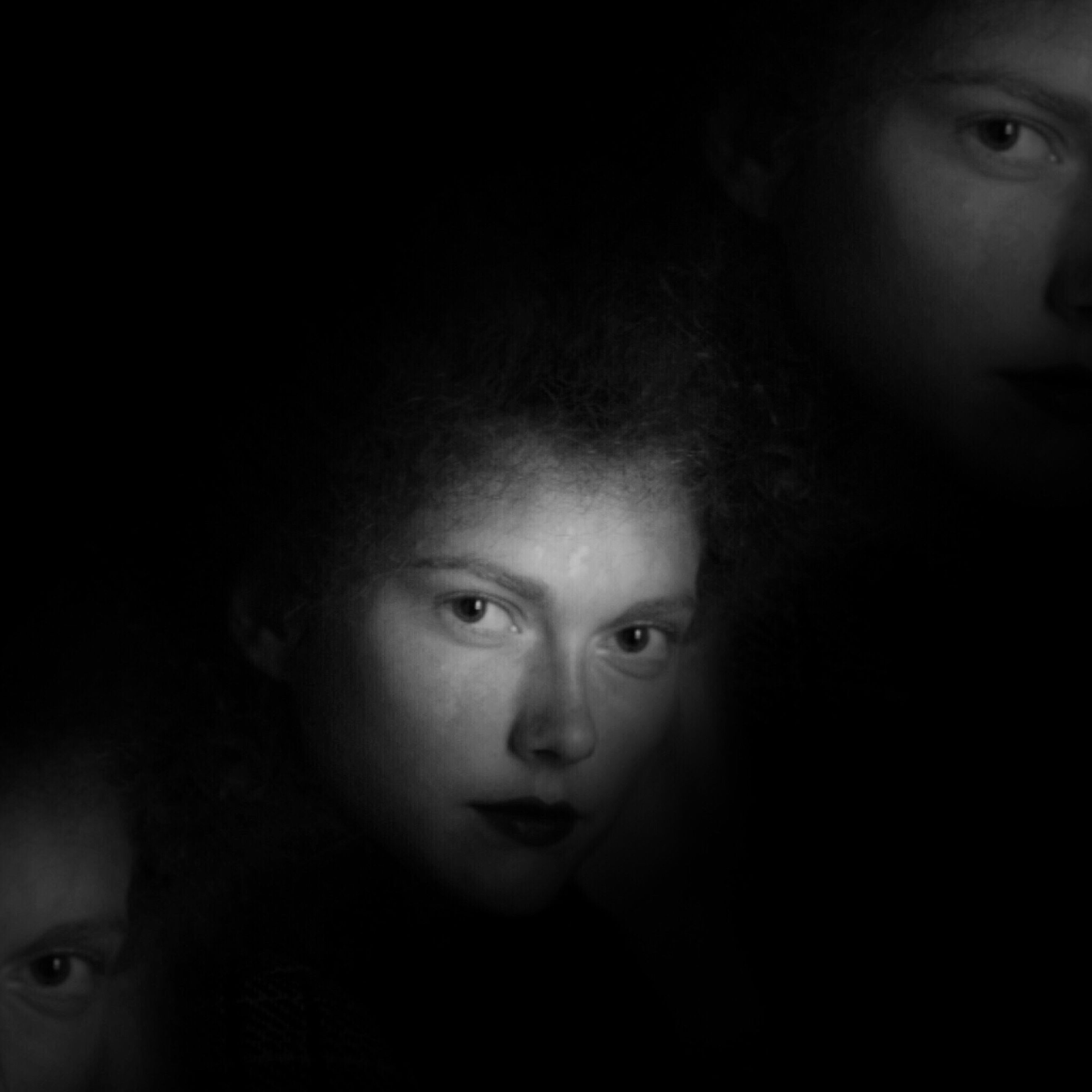 looking at camera, two people, portrait, human face, real people, young adult, close-up, young women, togetherness, lifestyles, childhood, black background, friendship, bonding, indoors, day, people