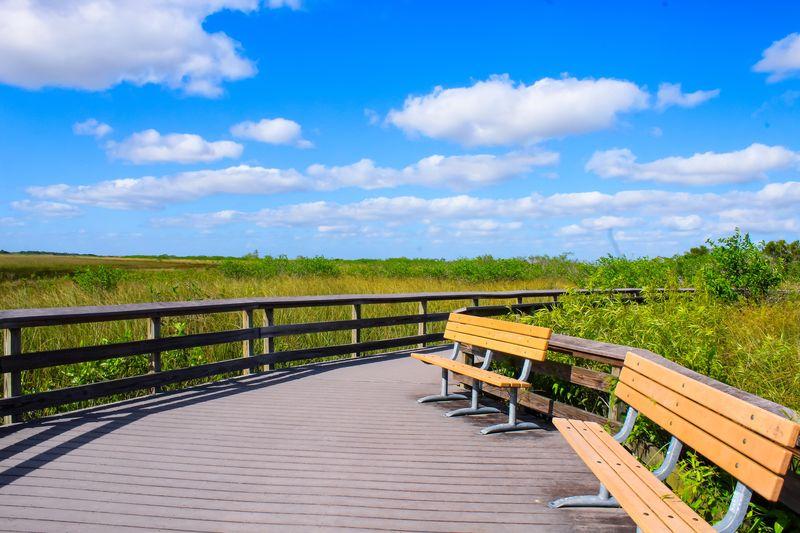 Empty bench on boardwalk by field against sky