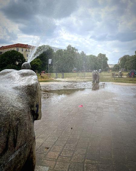 Fountain in city during rainy season