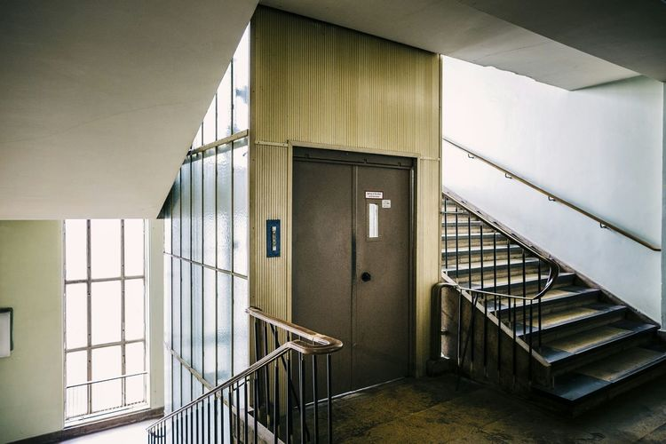 Stairway And Elevator In Building